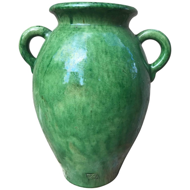 Tall Green Glazed Ceramic Vase Signed Biot 1