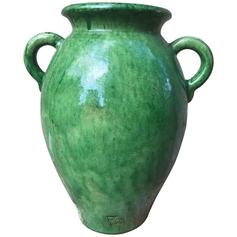 Tall Green Glazed Ceramic Vase Signed Biot For Sale