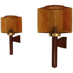 Beautifully and Elegant Pair of Wall Lamps by Carl Fagerlund for Orrefors Glass