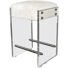 Gigi Lucite and Hide Counter Stool with Foot Rests