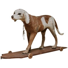 Early 20th Century Childs Toy, Ponyhair Dog on Wheels
