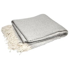 Chevron Jacob Silver Wool Throw