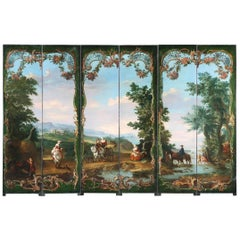 18th Century Painted Six Panelled Screen Depicting an European Landscape