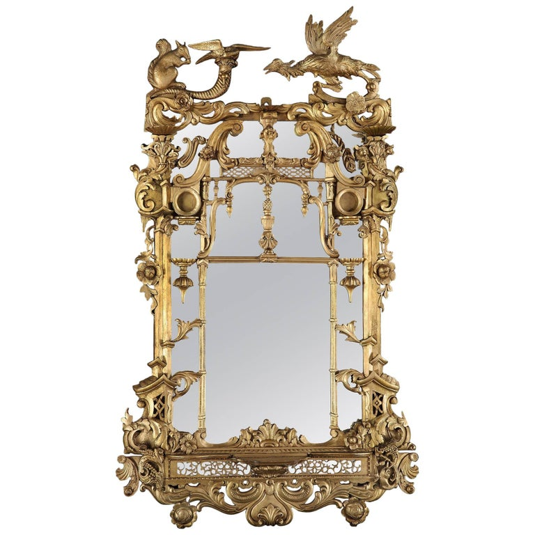 Irish 19th Century Giltwood Mirror in the Rococo Manner For Sale