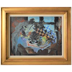 French Mid-Century Modern, Still Life, Table with Seafood by Jean De Gavardie