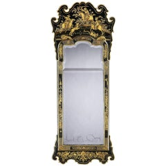 George II Green Japanned and Gilt Pier Mirror Attributed to Giles Grendey