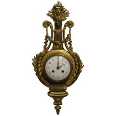 19th Century French Ormolu Cartel Wall Clock