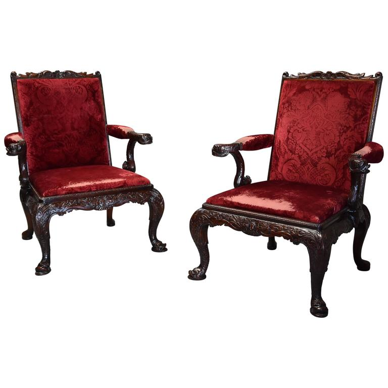 Pair of Late 19th Century George II Style Mahogany Gainsborough Armchairs For Sale