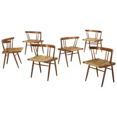 George Nakashima Grass Seat and Walnut Chairs