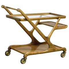 Mid-Century Walnut Bar Trolley by Cesare Lacca for Cassina