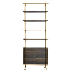 One Bay Collector's Brass Shelving with Oxidized Oak Credenza, Doors and Shelves