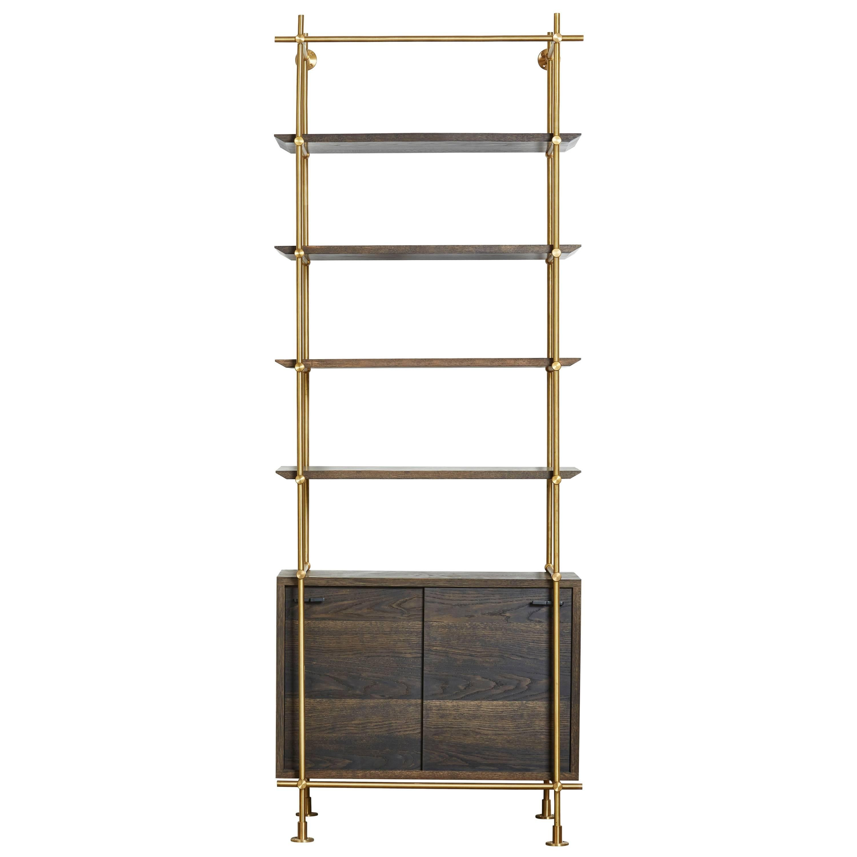Amunealu0027s One Bay Collectoru0027s Brass Shelving+Oxidized Oak  Credenza,Doorsu0026Shelves