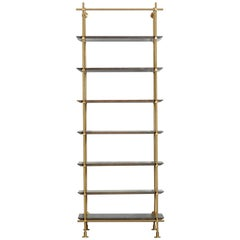 1 Bay Collector's Brass Shelving with Oxidized Oak Shelves