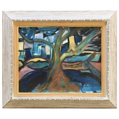 """Suzanne Clune """"Urban Tree"""" Modernist Acrylic on Canvas Painting"""