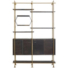 Two Bay Collector's Brass Shelving Unit with Oxidized Oak Credenza and Shelves