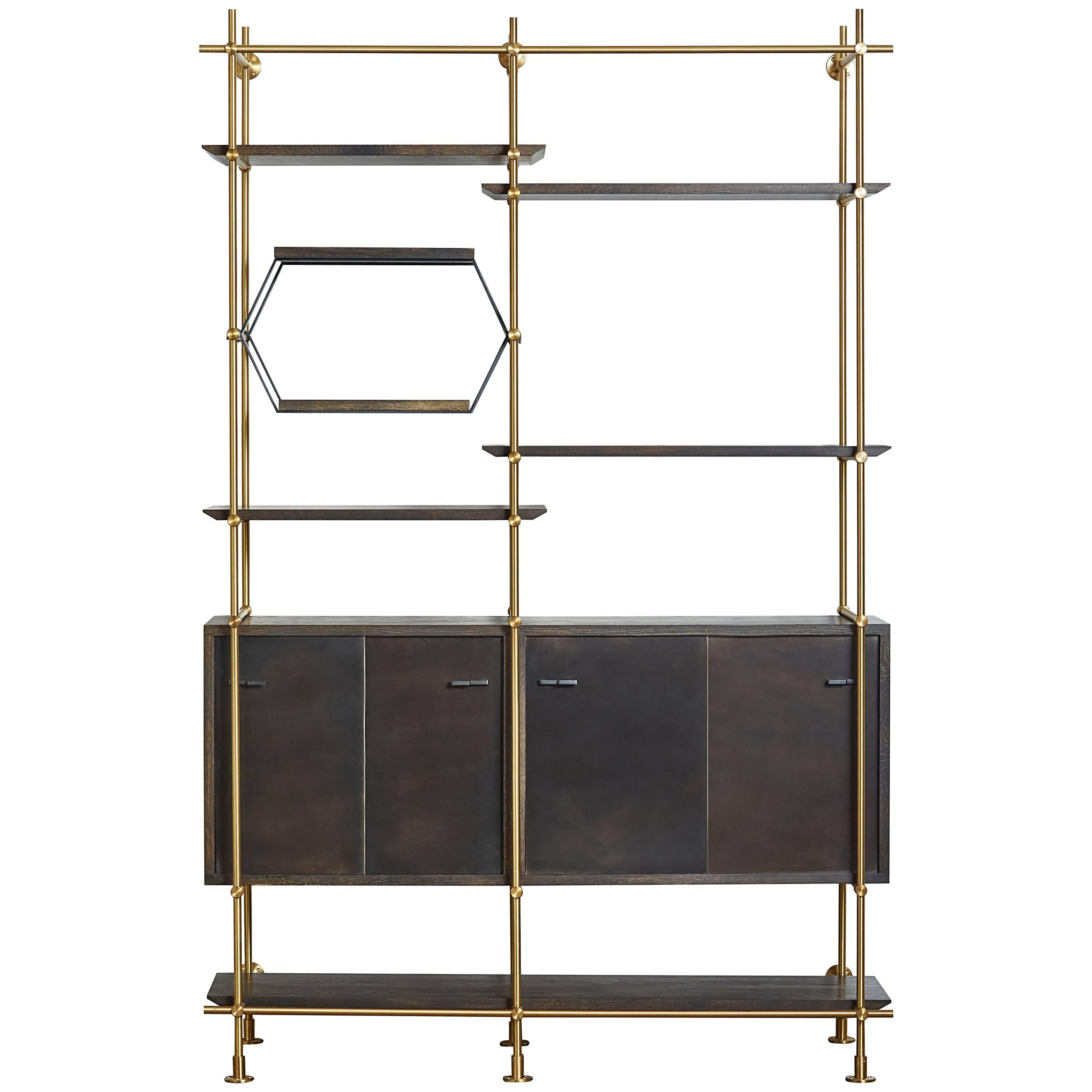two bay brass shelving unit with oxidized oak credenza and shelves