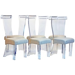 Set Of Six Mid Century Sculptural Lucite High Back Dining Room Chairs With Silk