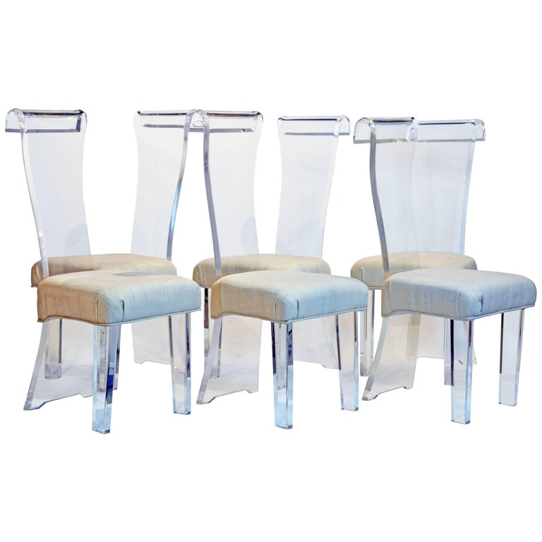 Set of Six Mid-Century, Sculptural Lucite High Back Dining Room Chairs with Silk 1