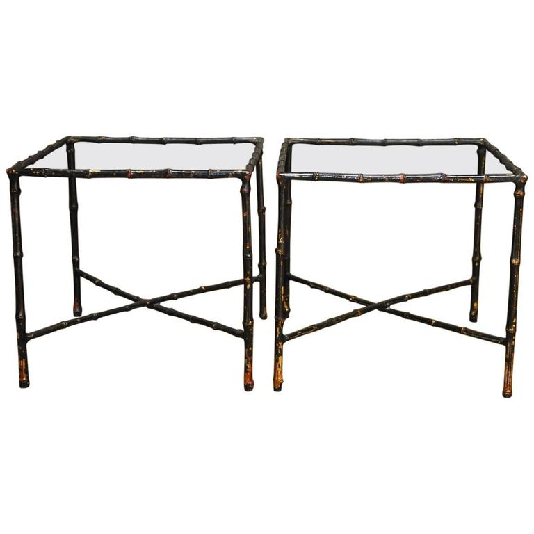 Pair of Black Lacquered Faux Bamboo Gilt Drink Tables For Sale
