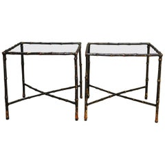 Pair of Black Lacquered Faux Bamboo Gilt Drink Tables