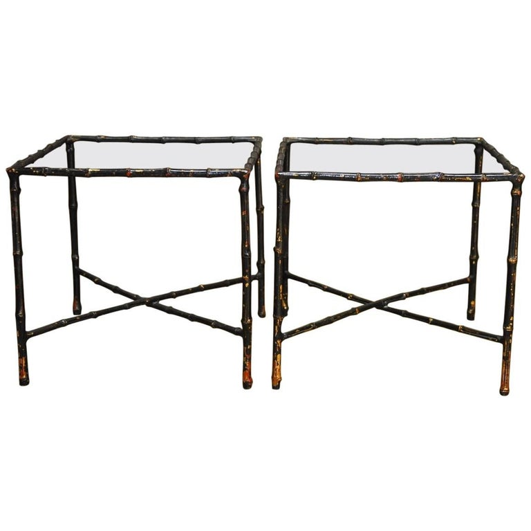 Pair of Black Lacquered Faux Bamboo Gilt Drink Tables 1