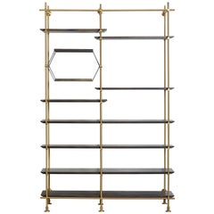 Two-Bay Collector's Brass Shelving Unit with Oxidized Oak Adjustable Shelves