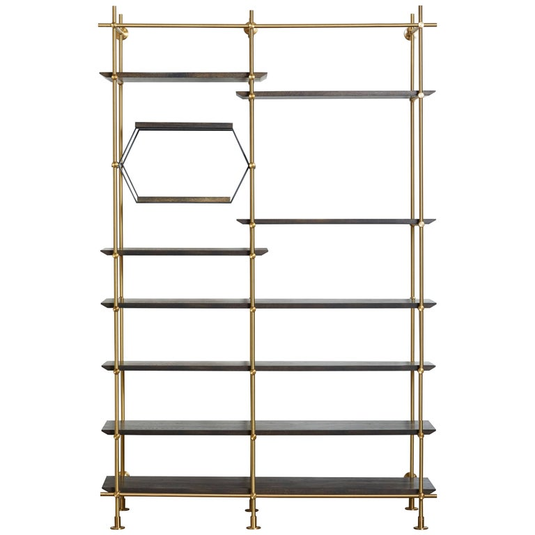 Amuneal's 2 Bay Collector's Brass Shelving Unit+Oxidized Oak Adjustable Shelves