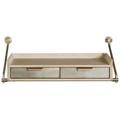 Amuneal's Wall-Mounted Console Table in Bleached Oak and Champagne Brass Metal