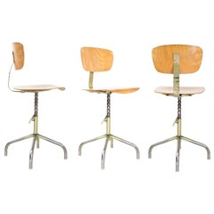 Set of Eight Swivel Drafting Stools Chairs by Walter German Industrial, 1950s
