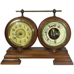 Rare Nautical Ship's Clock and Barometer on Double Base