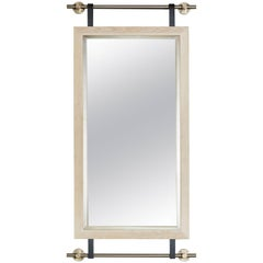 Collector's Wall-Mounted Mirror in Bleached Oak and Champagne Brass Hardware