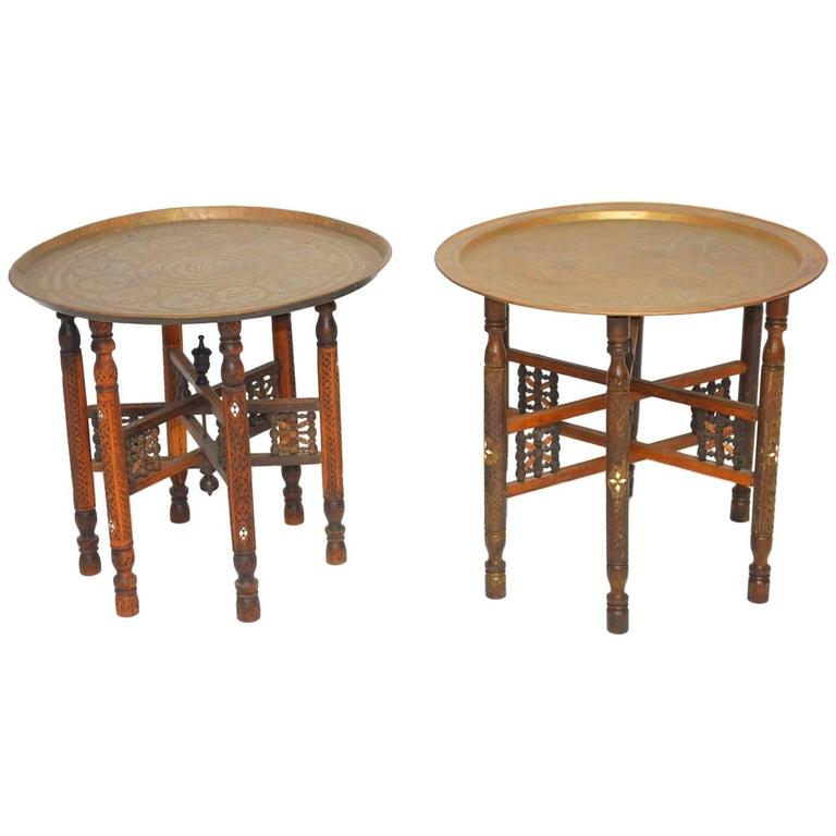 Pair of Moroccan Brass Tray and Wood Drink Tables For Sale