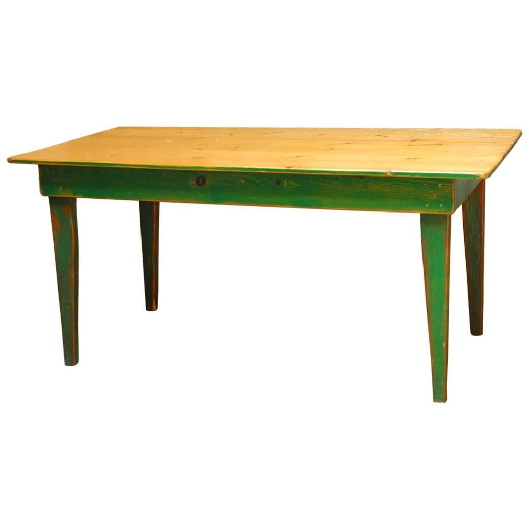 Beau Rustic French Pine Painted Farmhouse Table