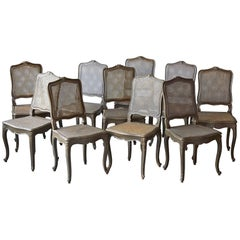 Set of Ten Early 20th Century French Provincial Country Style Dining Chairs