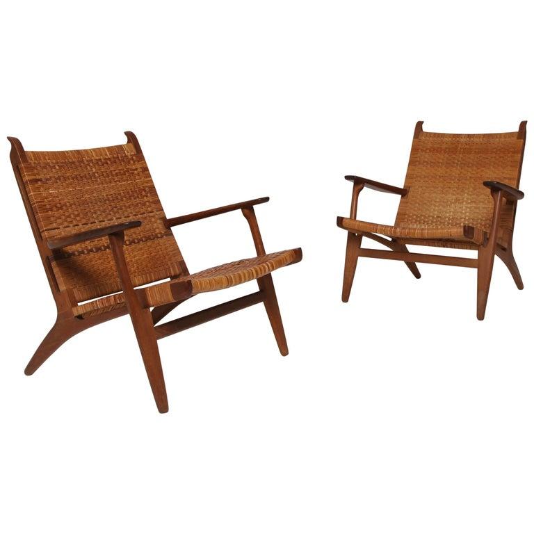 Carl Hansen Chairs pair of hans wegner ch-27 chairs, carl hansen and son, denmark