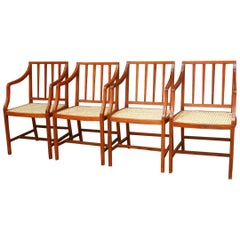 Set of Four Slat Back Caned Dining Chairs