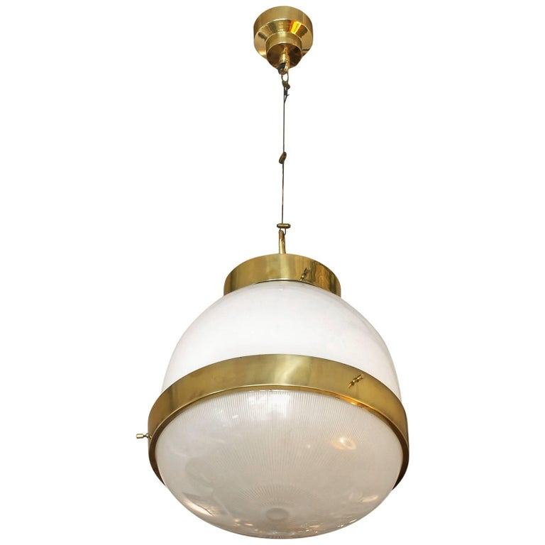 1960´s Large Delta Lantern by Sergio Mazza for Artemide, brass, glass - Italy