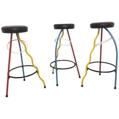 "Set of Three ""Duplex"" Bar Stool by Javier Mariscal"