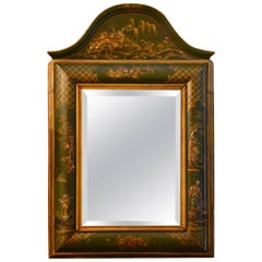 Antique Chinoiserie Laquer Panelled Mirror