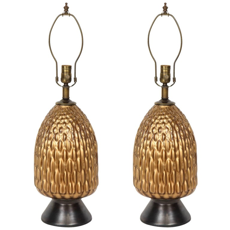 Italian Bronze and Coppered Glass Lamps 1