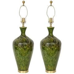 Italian Emerald Green Ceramic Lamps