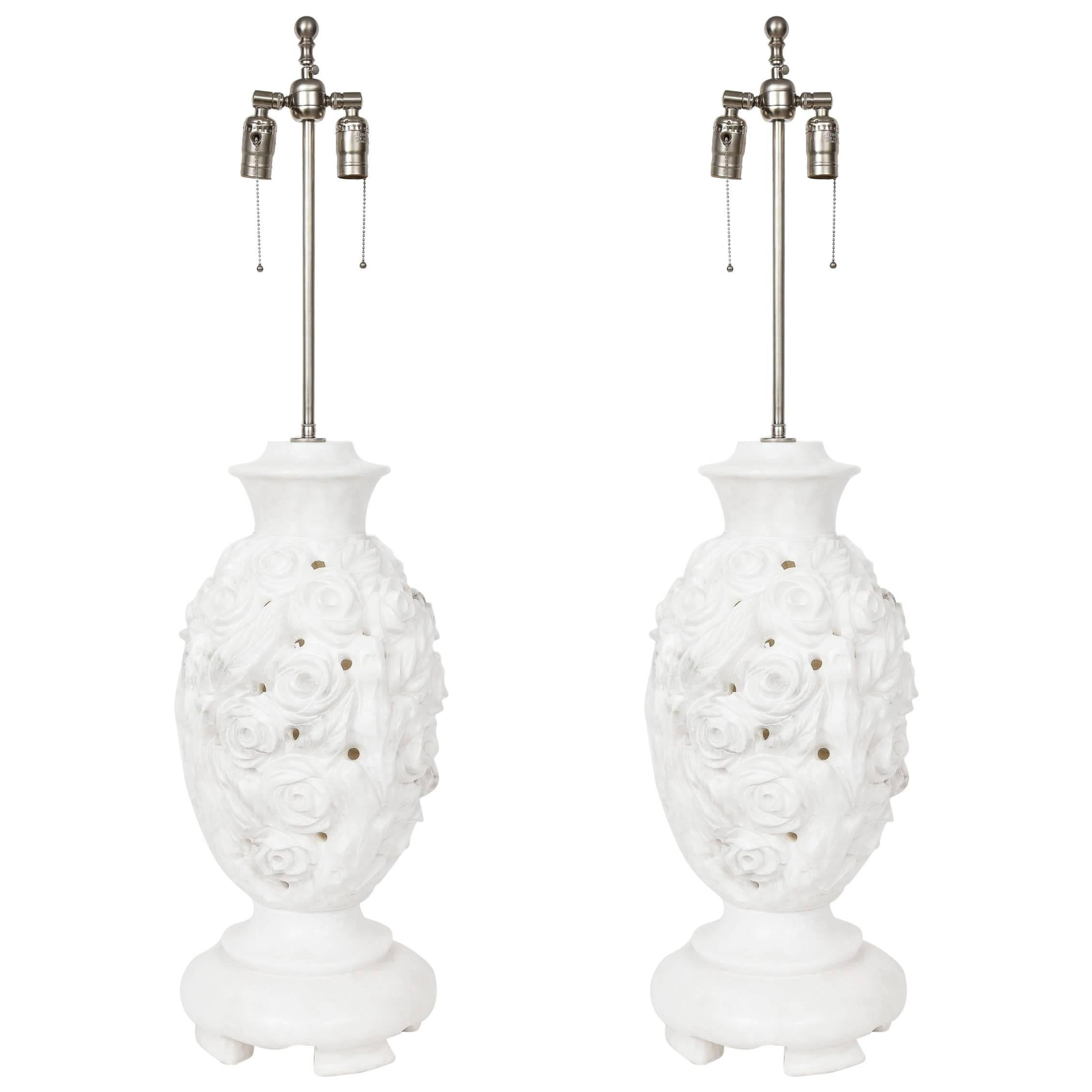 Large Italian Hand-Carved Alabaster Floral Lamps