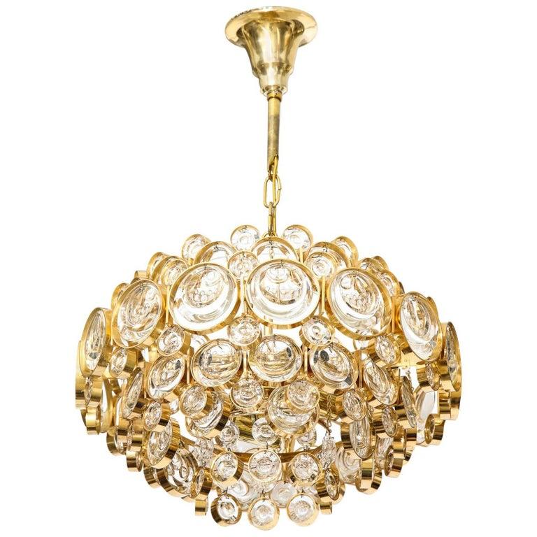 Palwa Gilt Brass Optic Glass Chandelier For Sale