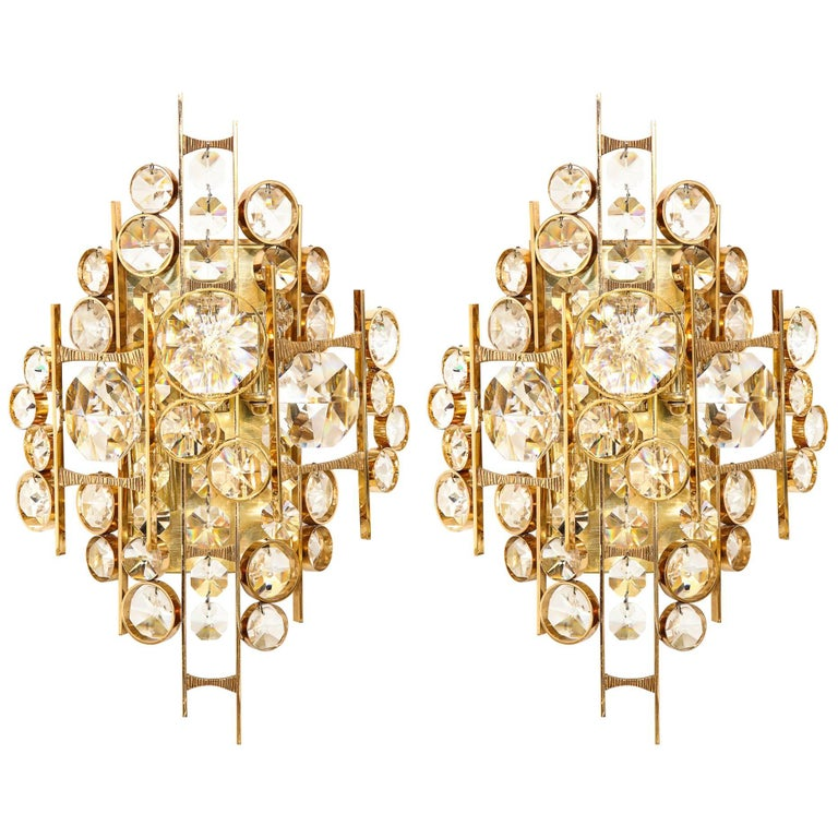 Palwa Austrian Crystal Sconces For Sale