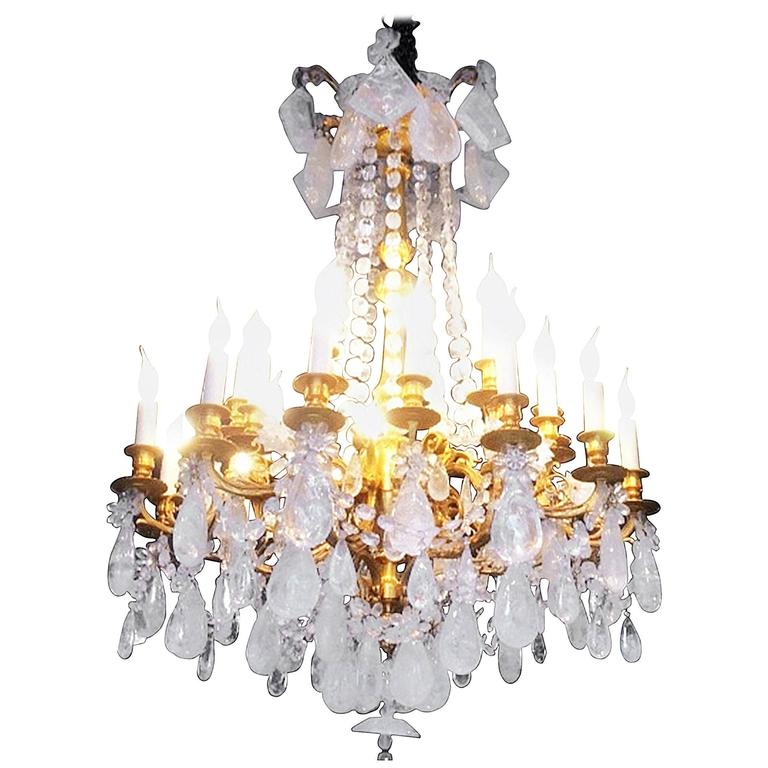 Fabulous Rock Crystal and Chiseled Gilt Bronze Chandelier, Lousi XVI Style, 2016 For Sale