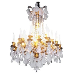 Fabulous Rock Crystal and Chiseled Gilt Bronze Chandelier, Lousi XVI Style, 2016