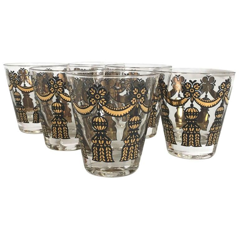 Set of Six Mad Men Tassled Lowball Glasses
