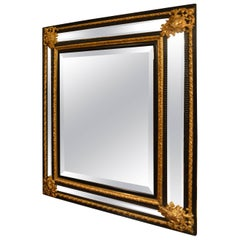 Antique French Bronze D'ore and Ebonized 19th Century Mirror