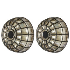 Pair of 1960s Black Iron and Glass Honeycomb Domed Wall Lights by Limburg