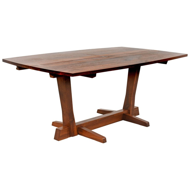 Early George Nakashima Walnut Conoid Dining Table with Rosewood Keys, 1965